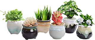 LUCKEGO 2.36 Inch Ceramic Succulent Pot,Cactus Planter Pot Plant Container Flower Pot Flowing Glaze Black&White Serial Pack of 6 (Flowing Glazed Serial)