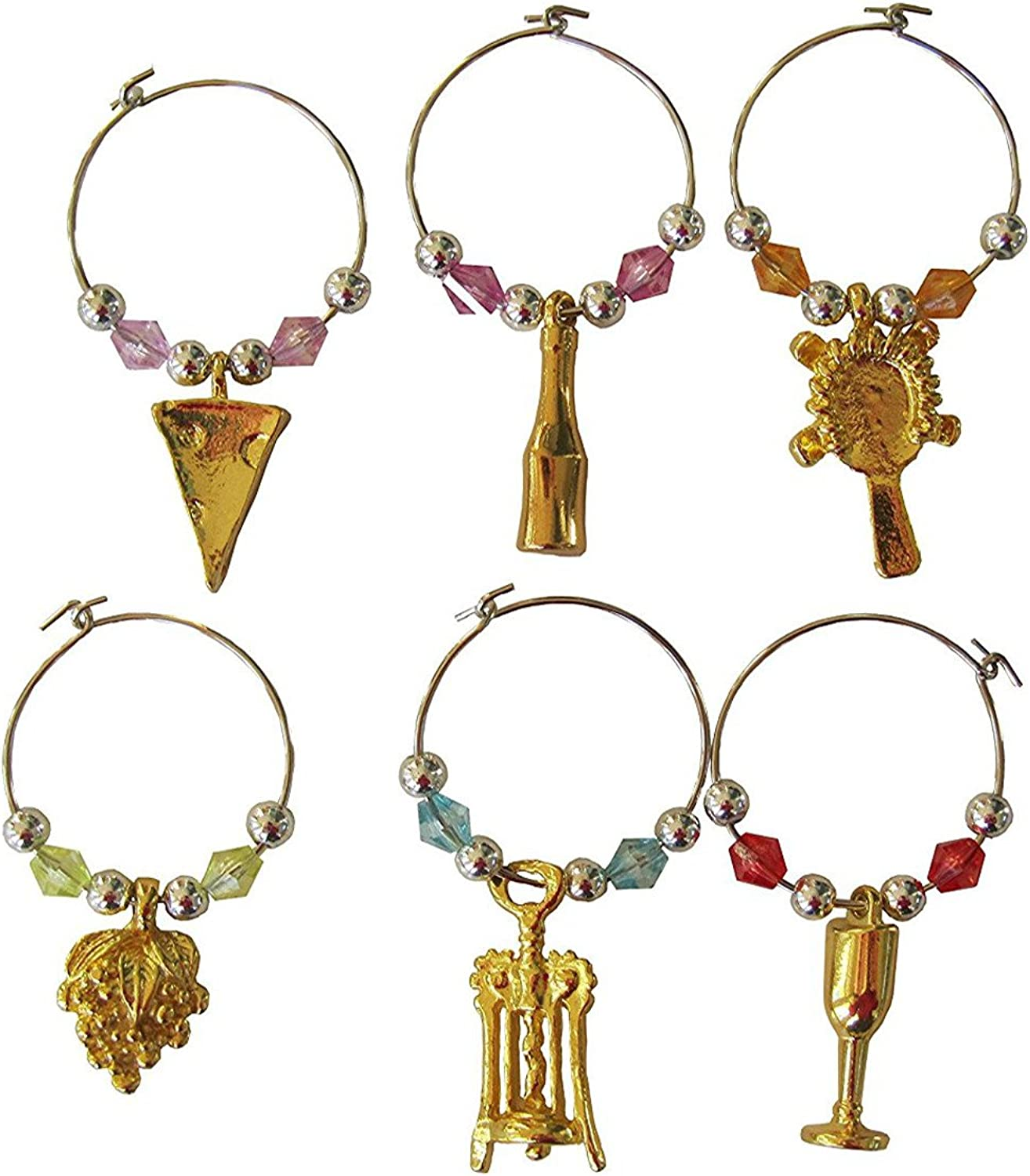 Select Beaded Wine Glass tag marker Set Sale of ... 6 Charms-