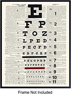 Upcycled Dictionary Wall Art Print - Vintage 8x10 Unframed Photo - Great Gift for Steampunk Fans and Chic Home Decor - Snellen Eye Chart