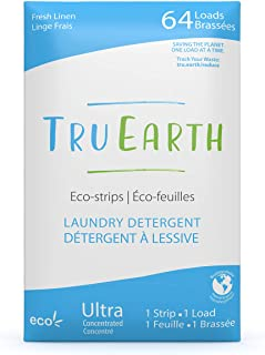 Tru Earth Eco-friendly Ultra Concentrated Compostable & Biodegradable Plastic-Free Laundry Detergent Eco-Strips (64 Loads,...