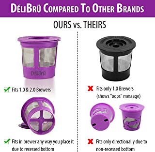 Reusable K Cups for Keurig 2.0 & 1.0 4PACK Coffee Makers. Universal Refillable KCups, Keurig filter, Reusable kcup, k cup k-cups reusable filter by Delibru