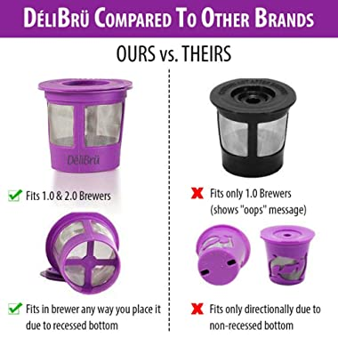 Reusable K Cups for Keurig 2.0 & 1.0 4PACK Coffee Makers. Universal Refillable KCups, Keurig filter, Reusable kcup, k cup k-cups reusable filter by Delibru (4 Pack)
