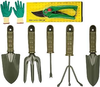 Bulfyss 7 Pieces Gardening Tools Seed Handheld Shovel Rake Spade Trowel with Pruning Shear and Gloves