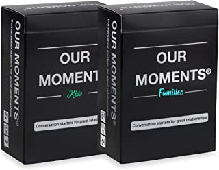 OUR MOMENTS Parents Bundle: 200 Thought Provoking Conversation Starters for Parent-Child Relationship Building - Fun Car Travel, Road Trip Card Questions Game for Families (2 Decks: Kids + Families)