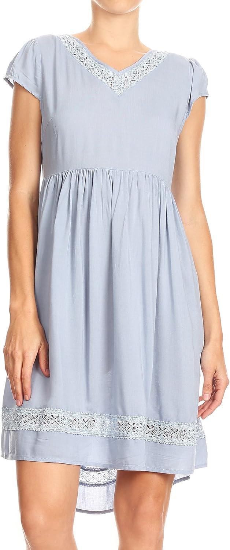 Anna-Kaci Womens Short Sleeve Backless Empire Waist V Neck Midi Blue Tunic Dress