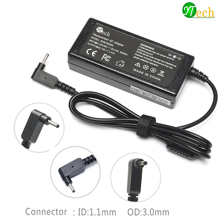 YTech 19V 3.42A 65W Adapter Charger Power Cord for Acer Chromebook 11 13 14 15 R11 Cb3 Cb5 C720 C720p C730e C740 P3 P3-131 R14 S7 S7-191 S7-391 S7-392 Iconia W700 Tablet AO1-131 AO1-431