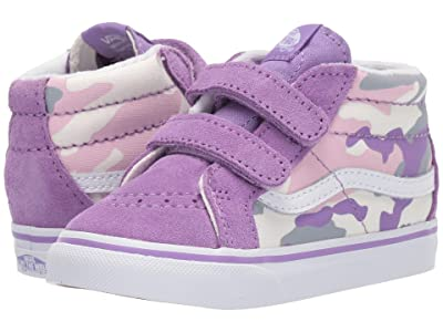 Vans Kids Sk8-Mid Reissue V (Infant/Toddler) ((Pastel Camo) Fairy Wren/Marshmallow) Girls Shoes