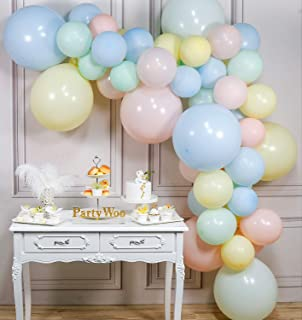 PartyWoo Pastel Balloons, 48 pcs Pastel Yellow Balloons, Pastel Pink Balloons, Pastel Blue Balloons, Mint Balloons, Balloons Pastel for Rainbow Birthday Decorations, 8 Jumbo Pastel Balloons Included