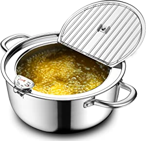 Chihee Deep Fryer with Thermometer 304 Stainless Steel Fry Pot Non-stick Uncoated Frying Pot with Lid Oil Strainer Rack Beak Diversion Perfect for Family Frying Tempura French Fries Chicken Nuggets