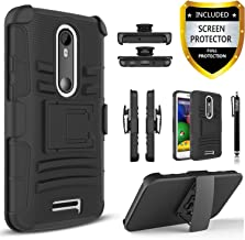 Droid Turbo 2 Case, Rugged Shell Cover Holster with Built-in Kickstand and Belt Clip Black + Circle(TM) Stylus Touch Screen Pen And Screen Protector