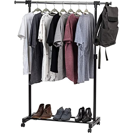 YAAXA Stainless Steel Single Pole Cloth Rack with Stand & Wheel,Movable Portable Clothes Rack,Adjustable Height Single Garment Rack,Displaying for Home,Bedroom,Balcony
