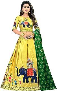 Ethnicset Women's Heavy Jari Digital Printed Lehengha Choli (Yellow, Free Size)