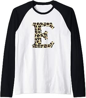 Leopard Cheetah Print Letter E Initial Rustic Monogram Gift Raglan Baseball Tee
