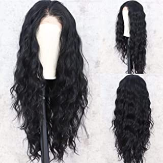 Sapphirewigs 28'' Long Black #1B Curly Style Kanekalon Futura Hair No-Tangle Natural Hairline 4''× 4'' Deep Big Lace Freedom Part Daily Makeup Wedding Gift Blogger Celebrity Synthetic Lace Front Wigs