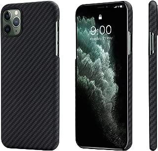 「PITAKA」iPhone 11 Pro Max 対応 ケースMagEZ Case アラミド繊維 カーボン風 超薄(0.85mm) 超軽量(17g) 耐衝撃 ワイヤレス充電対応 (黒/グレ-ツイル柄)