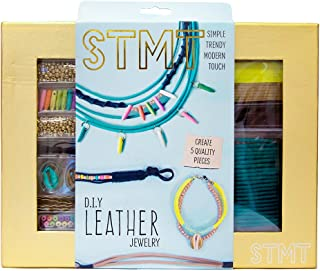 STMT DIY Leather Jewelry Kit by Horizon Group Usa, Create 5 Unique Vsco Girl Leather Jewelrypiece. Metallic Beads, Suede Cording, Spike Beads, Shells Included
