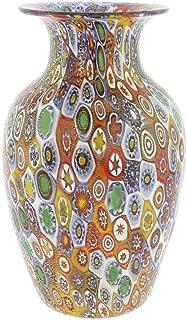 GlassOfVenice Murano Glass Golden Quilt Millefiori Urn Vase