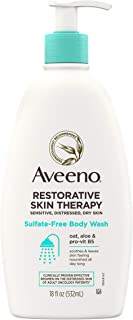 Aveeno Restorative Skin Therapy Sulfate-Free Body Wash for Sensitive, Distressed, Dry Skin, Gentle Cleanser with Oat, Form...