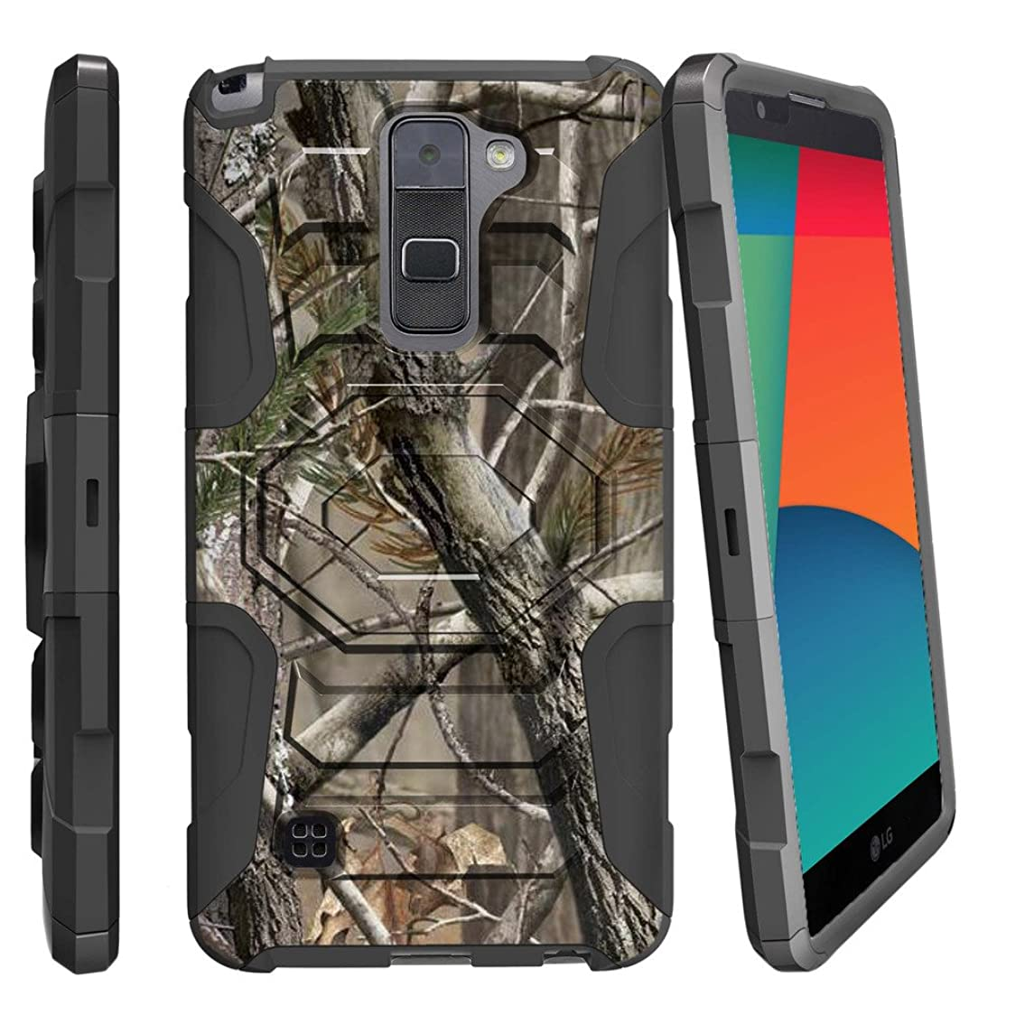 MINITURTLE Case Compatible w/ LG Stylo 2 |LG Stylus 2 Case,[Armor Reloaded] Dual Layer Shell Rugged Belt Clip Case Graphic Images [L82VL L81VL K540 K520] Nature's Camouflage