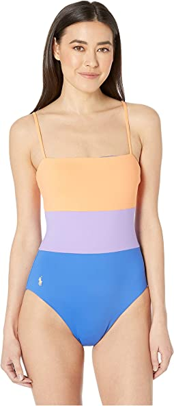 00485aa68cb08 Lauren ralph lauren beach club knotted halter one piece w removable ...