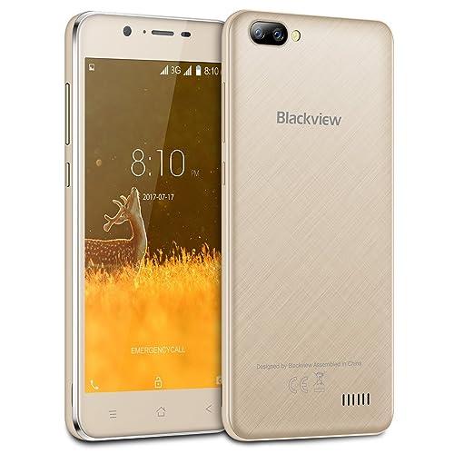 Blackview A7 - 5.0 pouces IPS Screen 3G Android 7.0 smartphone, 2MP caméra avant + 5MP double caméra arrière, 1.3GHz Quad Core 1 Go RAM 8 Go, Dual SIM Bluetooth 2800mAh batterie - Or