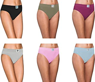 Pepperika Women's Plus Size (Size 5XL) High Middle Waist 100% Soft Breathable Cotton Hipster Brief Underwear Solid Color Full Coverage Hi Cut Panties (Pack of 6)