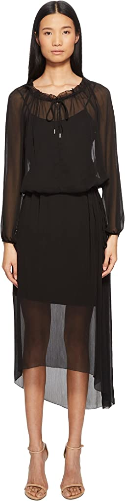 Daluna Long Sleeve Sheer Overlay Dress