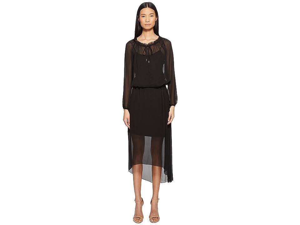 ESCADA Daluna Long Sleeve Sheer Overlay Dress (Black) Women