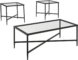 Signature Design by Ashley - Augeron Contemporary 3-Piece Table Set - Includes Cocktail Table & 2 End Tables, Black