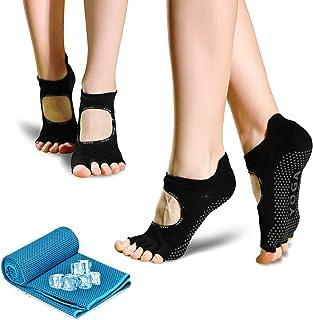 unisoul, Calcetines Antideslizantes Mujer,2 Pares Calcetines de Yoga Pilates Y 1 Toalla refrescantepara,para Yoga Pilates, Barra, Ballet, Fitness,Entrenamiento Descalzo