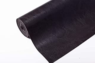Meneng Super Soft Synthetic Leather Sheets Vintage Pattern Sofa Faux Leather Fabric for Backpack Making Furniture Repair(9''x 53'') (Black)