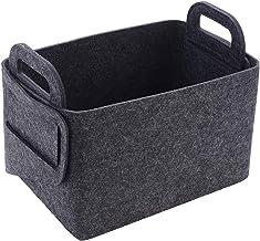 Boîte de rangement de tissu de feutre, panier de rangement épaissi se pliant avec des poignées pour des vêtements, jouets