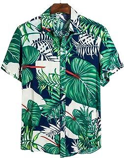 GRMO Men Floral Fashion Slim Long Sleeve Nightclub Button Down Shirts