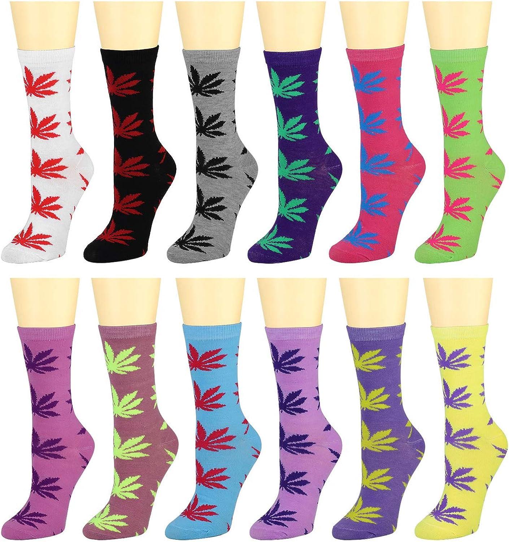 12 Pairs Women's Cotton Crew Socks Assorted colors