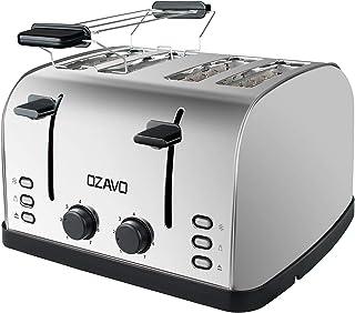 OZAVO Grille-pain, Toaster Multifonction Extra Larges avec Controle de Temperature et Plateau de Miettes Amovible, Acier I...