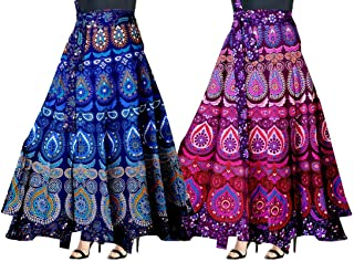 CRAFT INTERNATIONAL Cotton Long Wrap Around Skirt Jaipuri Printed (Multicolor,Free Size) Combo Pack of 2 Peice