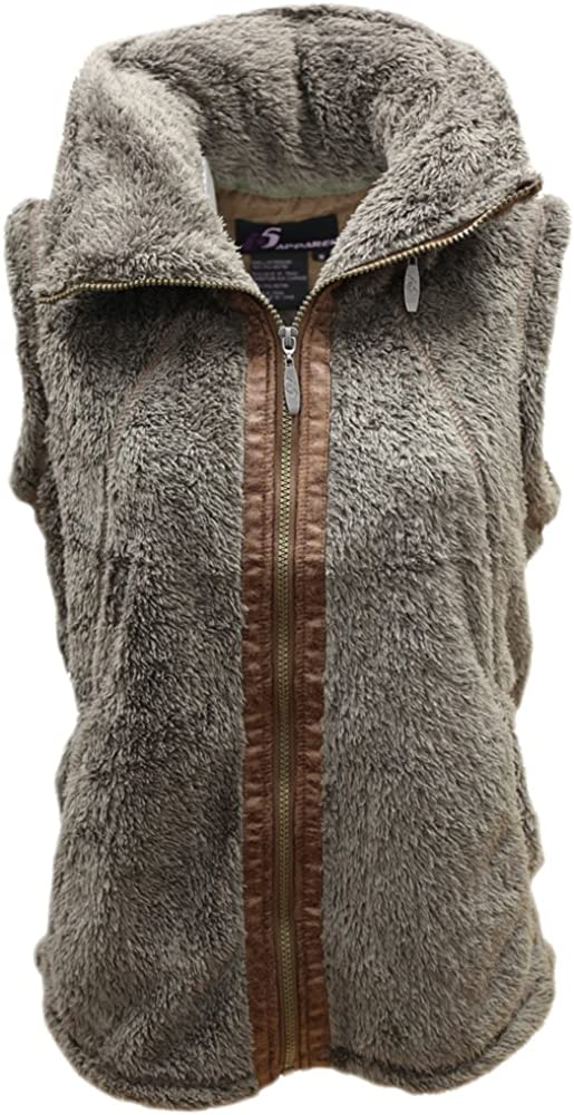 i5 Women's Fleece Zip Up Hidden Hood Vest