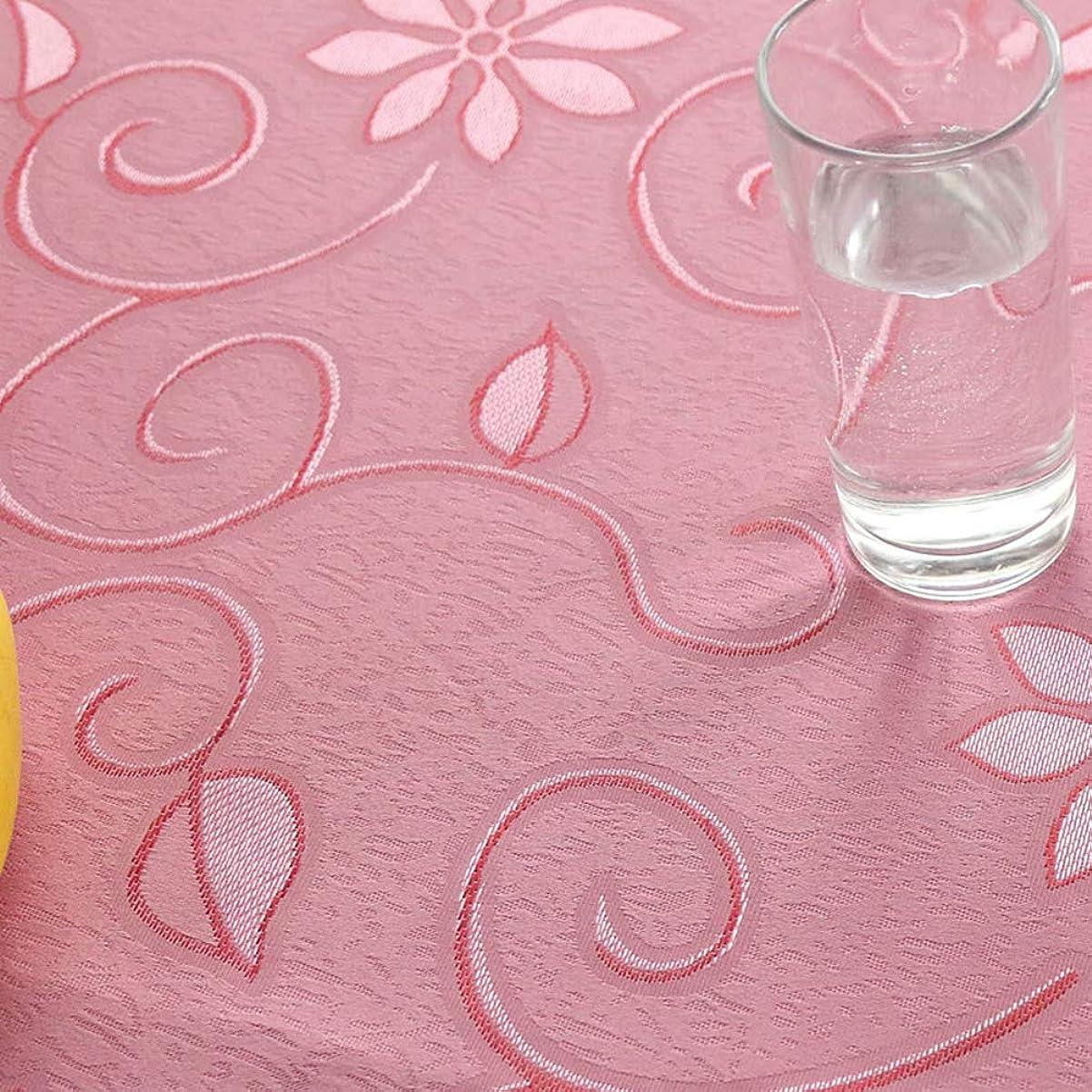 契約した生じる主カタク(KATAKU)おしゃれ テーブルクロス 北欧風 花柄 モダン 食卓カバー 耐熱 防汚 防塵 マルチカバー インテリア 多用途 飾り布 テーブルカバー ピンク 140*220cm