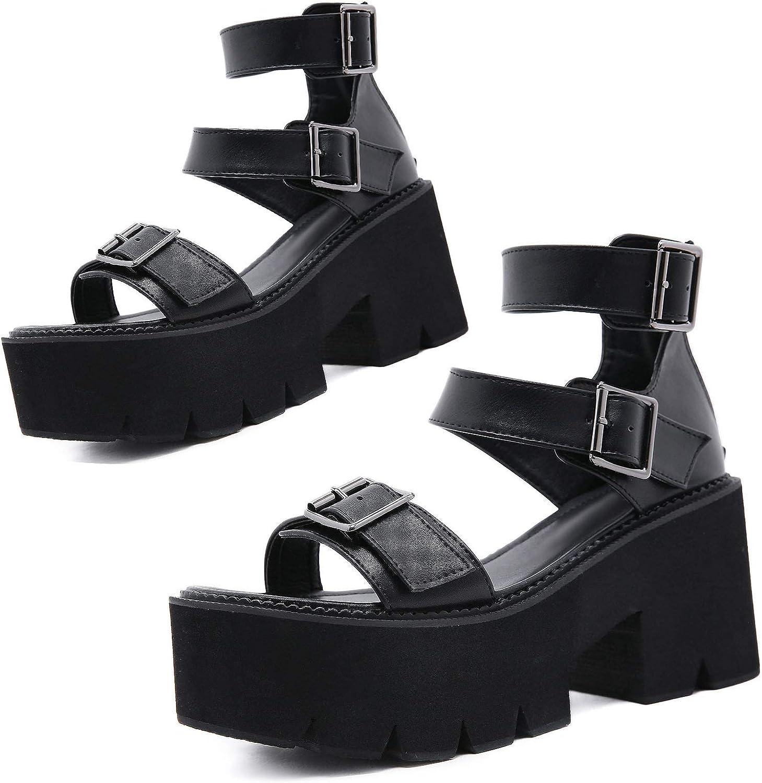 Women's Platform Sandals Fisherman Casual Comfort Velcro Chunky Heel Peep Toe Ladies Punk Sandals