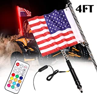 Teochew-LED 4Ft LED Whip Light, Lighted Antenna Whips Chasing Light Spiral LED Whip Light for ATV UTV SXS RZR 4X4 Polaris Truck