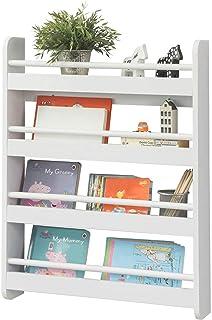 SoBuy® KMB08-K-W Bibliothèque Murale Étagère à Livres Enfants Étagère de Rangement avec 4 Étages - Blanc