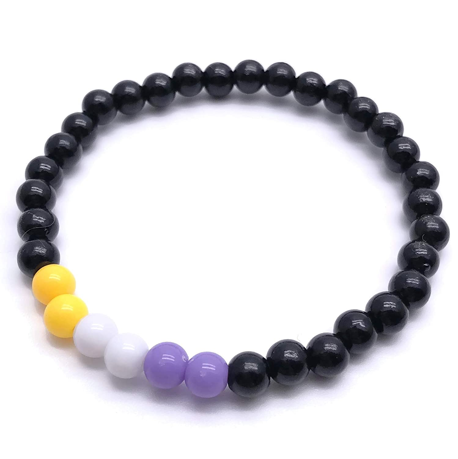NON Max 42% OFF BINARY Flag Bead Bracelet - Yellow Super sale 6mm and White Lavender Bl