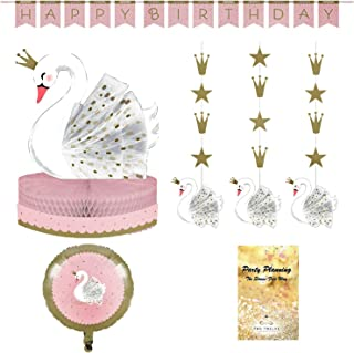 Swan Party Decorations, Pink Stylish Design, 4 Pieces, Centerpiece, Happy Birthday Banner, Hanging Cutouts & Balloon