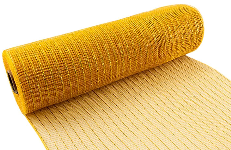 Eleganza Deco Mesh Metallic 25cm x 9.1m Gold No.35, Synthetic Material, 8.2 x 8.2 x 26.2 cm