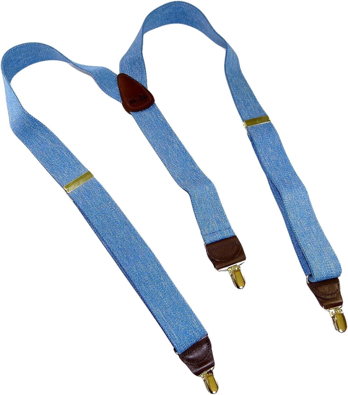 HoldUp brand Blue Denim color Suspenders in Y-back style with No-slip Goldtone Clips