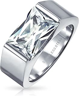 Bling Jewelry Geometric 4CT Square Cubic Zirconia Emerald Cut AAA CZ Mens Engagement Ring for Men Silver Tone Stainless Steel