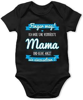Shirtracer ich habe eine verrückte Mama blau - Baby Body Kurzarm für Jungen und Mädchen