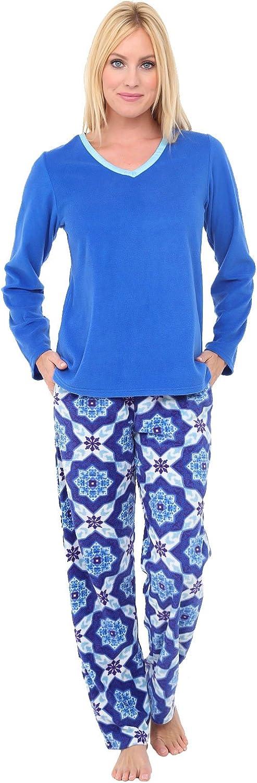 Alexander Del Rossa Womens Fleece Pajamas, Long VNeck Pj Set