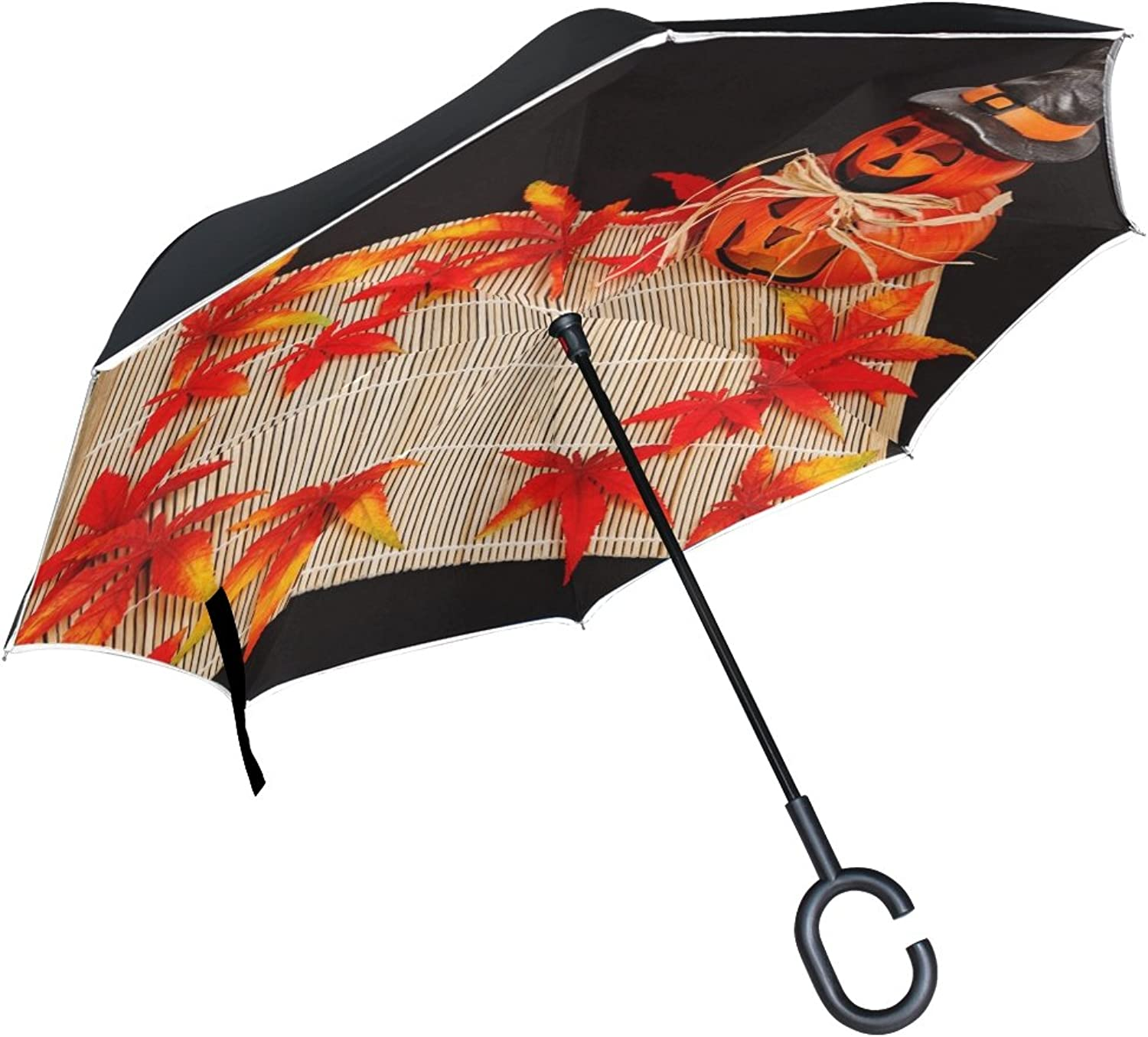 Double Layer Ingreened Pumpkin Autumn Dark color Decoration Umbrellas Reverse Folding Umbrella Windproof Uv Predection Big Straight Umbrella for Car Rain Outdoor with CShaped Handle