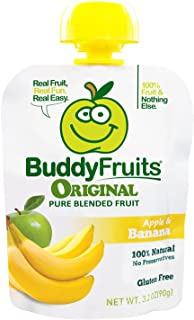 Buddy Fruits Pure Blended Fruit To Go, Banana and Apple, 3.2 Ounce Packages (Pack of 18)